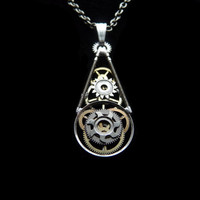 Clockwork Pendant Obelisk Teardrop by amechanicalmind