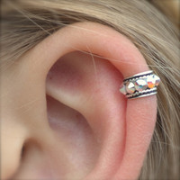 Ear Cuff - Rock Star - High Ear Cartilage - Sterling Silver - SINGLE SIDE