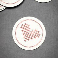 Cross My Heart Coasters (10) in  Explore Material Love Pattern It Red at BHLDN
