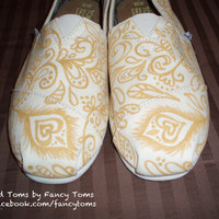Handpainted Custom Toms Shoes - Gold peacock feather