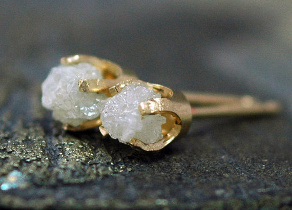 Rough Diamonds in 14k Yellow Gold Earrings by Specimental on Etsy