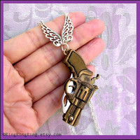 Silver necklace jewelry Tiny Gun knife pendant by RingRingRing