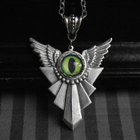 Winged antique silver necklace with handmade eye cabochon - you choose the color of the eye