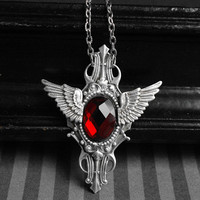 Metallic Flight - art deco winged necklace with red glass cabochon - antique silver version