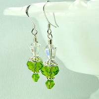 Green crystal earrings Swarovski crystals by earringsbylulu