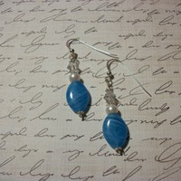 Handmade Earrings Sky Blue Sterling Silver
