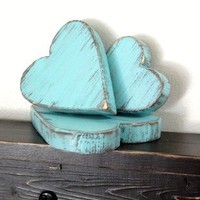 Wood Hearts aquamarine turquoise cottage decor wall art