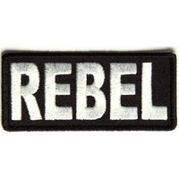 "Embroidered Iron On Patch - Black & White Rebel 3"" x 1.5"" Patch"