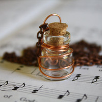 Rust glass vial perfume oil necklace oil in a by WoodlandTrinkets