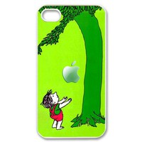 giving tree with an apple iPhone 4/4s Case (Black / white Color Case)