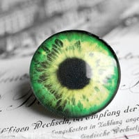 30mm handmade glass eye cabochon - green eye