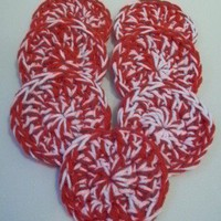 Crochet Scrubbies/Scrubbers - Set of 7 - Red &amp; White