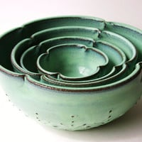 Ceramic Nesting Bowls - Set of 4 Serving Dishes - Aqua Mist