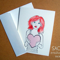 My Heart Belongs To You  Set of 4 Blank Note Cards by sacari
