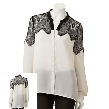 LC Lauren Conrad Lace Drop-Tail Hem Blouse