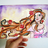 Flowergirl  Original Watercolour and Marker Painting by sacari