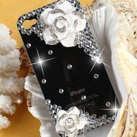 3D Camellia Crystal Bling Handmade Finished Case cover for Iphone 4 4S C55