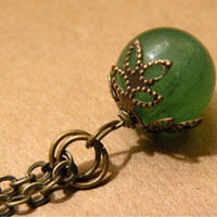 Green Adventurine Brass Pendant Necklace by ScorpionMoonDesigns