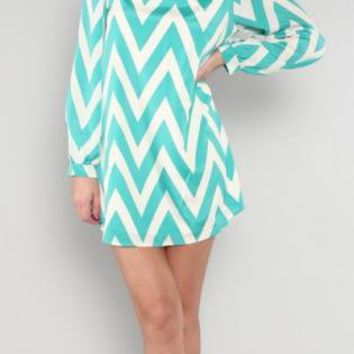 Green&Ivory Long Sleeve Dress with All Over ZIg Zag Print