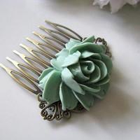 Mint Green Rose Flower Antique Brass Art Nouveau Filigree Hair Comb