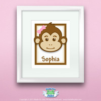 Personalized Children or Baby Gift Girl Monkey by Madeforjake