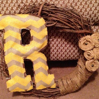 Grapevine Wreath with Burlap Flowers and Burlap Monogram Painted with Chevron Print