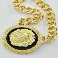 Celebrity Inspired Gold Chain Link Lion Head Necklace