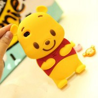 3D Winnie The Pooh Silicone Soft Cover Case for iPhone 5 5G+Free ScreenProtecter