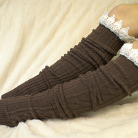 Brown cotton cable knit lace leg warmers w by CatherineColeStudio