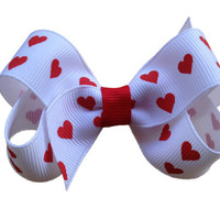 Red heart hair bow - Valentines hair bow