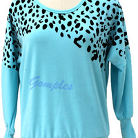 Girls Leopard Pattern Long Bat-Wing Sleeve T shirt Casual