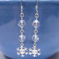 Snowflake Earrings, Sterling Silver Snowflake, Clear Crystal Drop Earrings