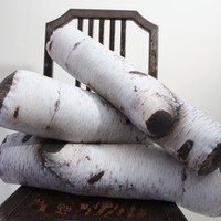 Birch Log pillow - made to order - decorative pillow - log decor - woodland