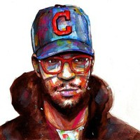 Kid Cudi Watercolor Stretched Canvas by TheOnlyBriman | Society6