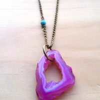 Magenta Pink Agate Geode Slice with Aqua Stone Accent Necklace