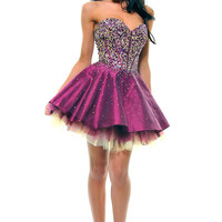 Plum & Yellow Strapless Sequin Tulle Tutu Cocktail Dress - Unique Vintage - Cocktail, Pinup, Holiday & Prom Dresses.