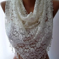 SCARVES - NEW Classy and  elegant  scarf  Lace scarf...Pearl color