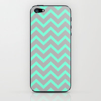 Tiffany Mint Grey Zigzag Chevron Pattern iPhone & iPod Skin by RexLambo | Society6