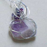 Amethyst and crystal wire wrapped pendant by poshandplayful