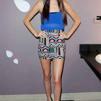 Motel Rocks Mini Tube Skirt in Aztec Pastel