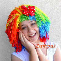 Clown Wig- Costume Piece- Orange Red Green Yellow Purple Blue- Red Polka Dot Bow- Womens Doll Wig