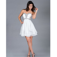 2013 Prom Dresses - Off-White Strapless Short Chiffon Prom Dress - Unique Vintage - Cocktail, Pinup, Holiday & Prom Dresses.