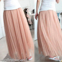 Incredible Womens Girls Tulle Puffy Full-length Long Maxi Skirt