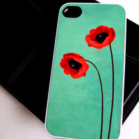 iPhone 4/4S Case Floral Red Poppies Unique and Cool Phone Covers
