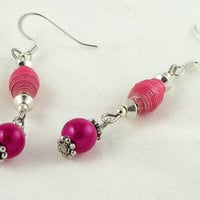 Pink Paper Bead Dangle Earrings by theotherstacey on Etsy