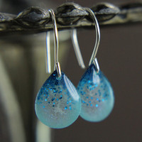 Tiny blue teardrop earrings with blue glitter on silver earwires - silver drop earrings