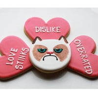 Grumpy Cat Valentine Gift Box - 4 Cookies - MADE TO ORDER