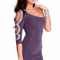 Purple Silver Shimmer Threaded One Shoulder Cut Out Long Sleeve Gem Stone Decor Stylish Dress @ Amiclubwear sexy dresses,sexy dress,prom dress,summer dress,spring dress,prom gowns,teens dresses,sexy party wear,women's cocktail dresses,ball dresses,sun dre