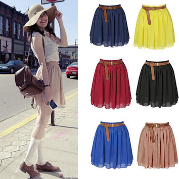 2012 Retro high waist pleated double layer chiffon skirt Pompon skirts