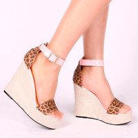 Womens Leopard Print Super High Wedges Platform Ankle Strap Sandal